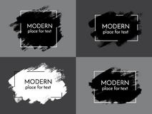 Vector black, white and red paint, ink brush stroke, brush, line Royalty Free Stock Photos