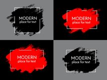 Vector black, white and red paint, ink brush stroke, brush, line Royalty Free Stock Photo
