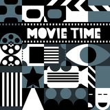 Vector black and white retro cinema concept. Background for movie festival poster, entrance ticket, flyer. Vector black and white retro cinema concept. Design Stock Image