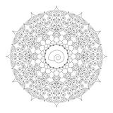 Vector black white round floral mandala with spirals and shell Stock Photography