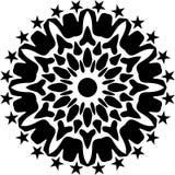 Vector black and white round geometric, abstract art, mandala design. royalty free illustration