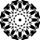 Vector black and white round geometric with stars, abstract art, mandala design abstract accessories and artistic. royalty free illustration