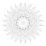 Vector black white round navy mandala with symbols - sea fishes, waves, ships, underwater plants,  twisted rope and rudder in. Vector black and white round navy Royalty Free Stock Images