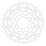 Vector black white round simple mandala lotus flower - adult coloring book page with copy space in the middle. Vector black and white round simple mandala lotus Stock Photography