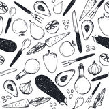 Vector black and white seamless food pattern. Vegetables, forks, knifes, spoons Royalty Free Stock Images