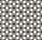 Vector Black and White Seamless Hexagonal Floral Lace Line Circle Pattern Royalty Free Stock Images