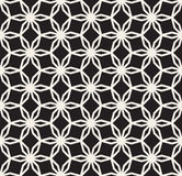 Vector Black and White Seamless Hexagonal Floral  Star  Lace Line Pattern Stock Photos