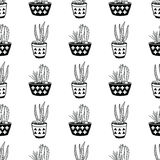 Vector black and white seamless pattern with cactuses and succulents in pots Stock Photography