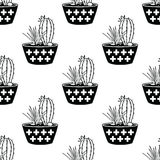 Vector black and white seamless pattern with cactuses and succulents in pots Royalty Free Stock Photos