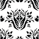 Vector black & white seamless pattern. Vector - Floral classic seamless pattern Royalty Free Stock Image