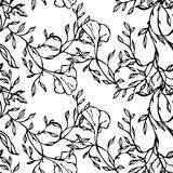 Vector black and white seamless pattern with flowers and leaves Royalty Free Stock Photography
