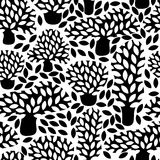 Vector black and white seamless pattern with hand drawn doodle trees. Abstract autumn nature background. Design for fabric, textile fall prints, wrapping paper Royalty Free Stock Photography