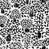 Vector black and white seamless pattern with hand drawn doodle trees and grunge removable texture. vector illustration