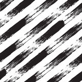 Vector black and white seamless pattern with lines. Traced watercolor. Stock Photography