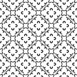 Vector black & white seamless pattern in oriental style, arabesq. Vector monochrome ornamental floral texture, black & white square seamless pattern in Stock Photos