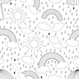 Vector black and white seamless pattern with rainbow stock illustration