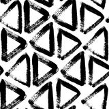 Vector black and white seamless pattern with triangles. Traced watercolor. Royalty Free Stock Photography