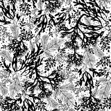 Vector Black and White Seaweed Texture Seamless Pattern Background. Great for elegant gray fabric, cards, wedding. Invitations, wallpaper. Textile pattern stock illustration