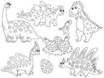 Vector Set of Cute Cartoon Dinosaurs and Eggs. Vector black and white set with cute cartoon dinosaurs, eggs and babies hatching. Vector dino. Vector various Royalty Free Stock Photography