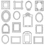 Vector black and white set of frames. Hand drawn cartoon frames. Vector black and white set of frames. Hand drawn decorative cartoon photo frames Royalty Free Stock Photos