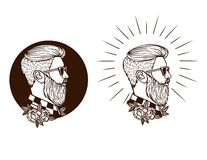 Vector black and white set of hipster labels. Silhouette of hipster guy in profile for barber shop. Elements for logo and tattoo in hipster style Royalty Free Stock Photography