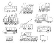 Vector black and white set of retro engines and public transport royalty free illustration