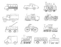 Vector black and white set of retro engines and transport vector illustration