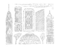 Vector black and white set of sketch illustration of high-rise urban office and public buildings. A kit drawn lines of. Skyscrapers of a modern metropolis Stock Photography
