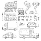 Vector black and white set of sketch illustration vintage European home, trucks and cars, coming people. Kit of outdoor. Plants and flowers in pots Stock Image