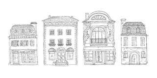 Vector black and white set of sketch illustration of vintage European homes. The shops and cafes of the old city Stock Image