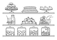 Vector black and white shelves with dishes, sweets, cakes and pastries in the pastry shop Stock Photo