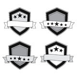 Vector black and white shields Stock Images