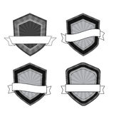 Vector black and white shields Stock Photo