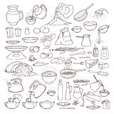 Vector black and white sketch collection set of food products, beverages and kitchen utensils. Brew tea and coffee. Cooking pasta, pour olive oil and honey Royalty Free Stock Photography