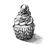 Vector black and white sketch illustration of cute creamy sweet cupcake. can be used for greeting cards or party invitations Royalty Free Stock Photography
