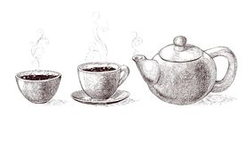 Vector black and white sketch illustration of fresh brewed hot and flavored morning coffee and tea from teapot in cup Royalty Free Stock Image