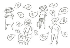 Vector black and white sketch illustration set of pregnant women. Expectation of the child and emotion. Feelings and Stock Photo