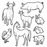 Vector black and white sketch set of isolated farm animals. Collection of silhouettes agricultural pets. Horse rooster pig rabbit. Goat and cow on the label for stock illustration