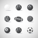 Vector black and white sports balls Stock Images