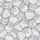 Vector black and white strawberries texture print stock illustration