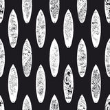 Vector Black White Surfing Boards Seamless Pattern Royalty Free Stock Images