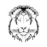 Vector Black and White Tattoo King Lion Stock Images