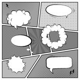 Vector black and white template of retro comic book page with various speech bubbles. Rays, stars, dots, halftone background vector illustration