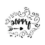 Vector black and white text Sorry decorated hand drawn abstract ornate. Inspirational apologies words. vector illustration
