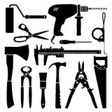 Vector black & white working tools collection for construction  Royalty Free Stock Images
