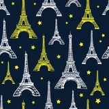 Vector Black, White, and Yellow Eiffel Tower Seamless Pattern. French vector background. Vintage fabric design in pastel Royalty Free Stock Photos