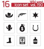 Vector black wild west icons set Stock Images