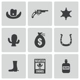 Vector black wild west icons set Royalty Free Stock Photography