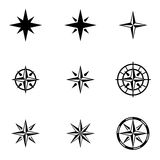 Vector black  wind rose icon set Royalty Free Stock Image