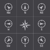 Vector black wind rose icons set Royalty Free Stock Image